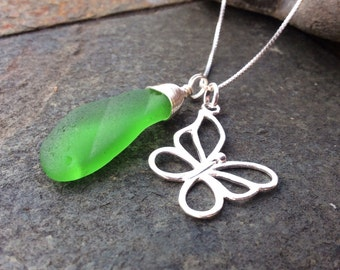 Sea glass jewelry,  Wire wrapped green sea glass and butterfly necklace