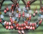 PASCUALA 2 Piece Sets Double Strand Necklaces and Dangles Earrings Light Pink Coral Drop Faceted Faux Pearl