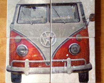 VINTAGE VW BUS Drink Coasters Set of 4