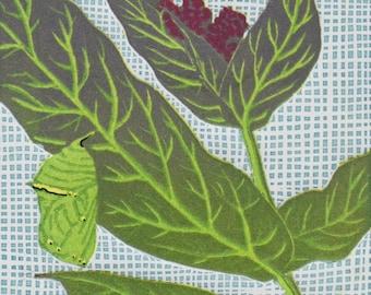"Monarchs & Milkweed Original Linocut Fine Art Mini-Print 4"" x 4"""