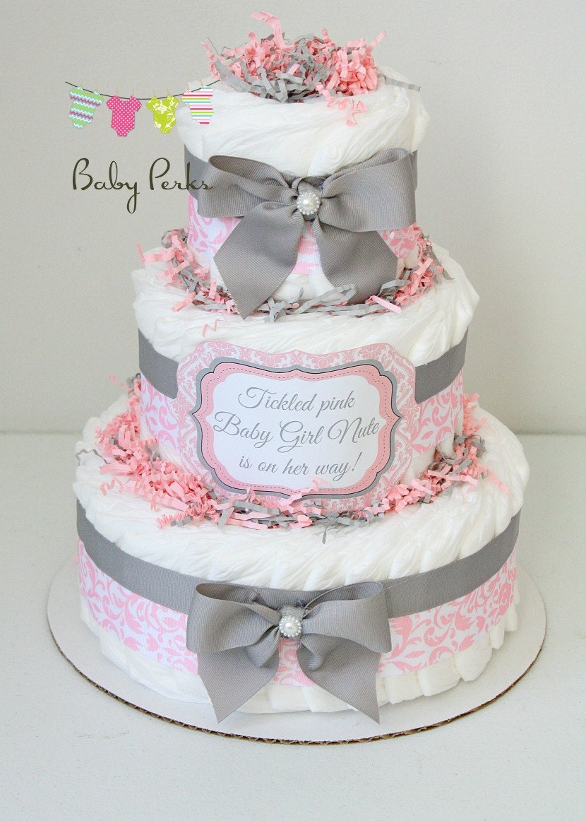 baby girl damask pink gray diaper cake baby shower. Black Bedroom Furniture Sets. Home Design Ideas