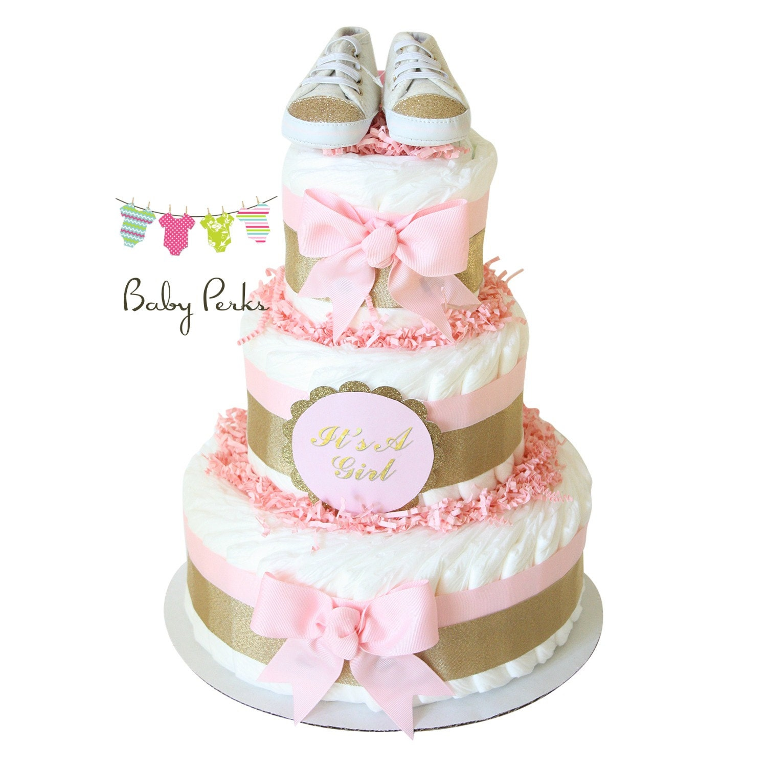 Pink And Gold Baby Shower Pink And Gold Diaper Cake Blush