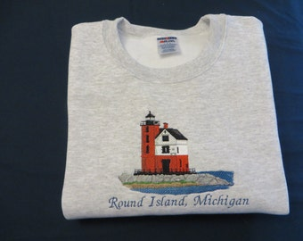 Embroidered Round Island Lighthouse Michigan Sweatshirt