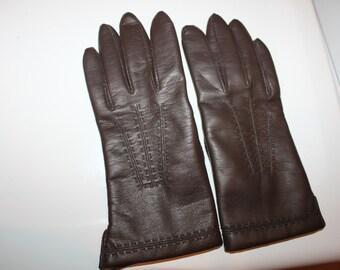 Vintage Brown Genuine Leather Gloves