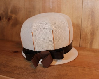 White Vinyl Hat Fancy Brown Gloves Mid Century Union Made Womens Accessories Vintage 1950s 50s (O)