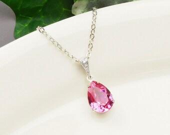 Pink Crystal Necklace - Bright Pink Bridesmaid Necklace - Silver Rose Swarovski Crystal Teardrop Pendant Necklace - Wedding Jewelry - Bridal