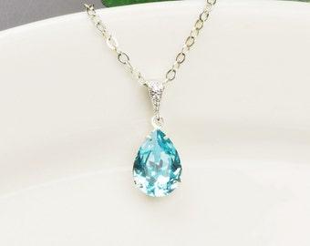 Turquoise Blue Necklace - Swarovski Crystal Teardrop Pendant Necklace - Silver Blue Bridesmaid Necklace - Bridesmaid Jewelry - Bridal
