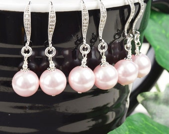Pearl Bridesmaid Jewelry SET OF 6 - 15% OFF Pink Pearl Bridesmaid Earrings - Swarovski Pearl Earrings - Wedding Jewelry Set - Bridal Jewelry