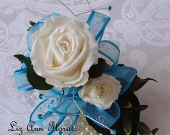 TURQUOISE Preserved  WRIST CORSAGE , Pearl Bracelet, Wedding Corsage, Prom, Anniversary Corsage,Quinceanera