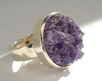 Sterling silver ring with raw amethyst