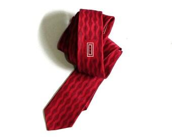 Wembley 60's Rockabilly Tie Red and Black Geometric Skinny Narrow Unisex Rockabilly Holiday Designer Necktie