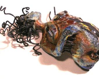 Raku Ceramic  Metal and Glass human abstacted Figure