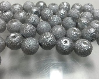 50 Beads - 10mm Gray Silver Round Glass Stardust Pearl Beads BD0278