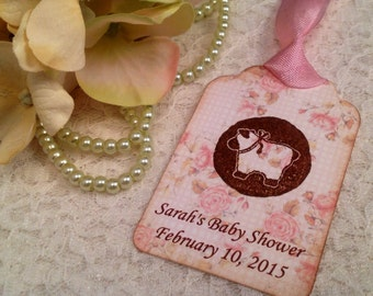 Shabby Chic Sheep Lamb Baby Shower Favor Tag-Baby Girl Shower Tea Thank You Tag-Set of 12