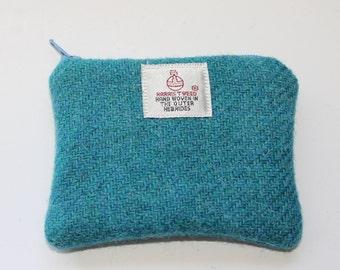 Harris Tweed purse, coin purse, change purse, Harris Tweed, turquoise
