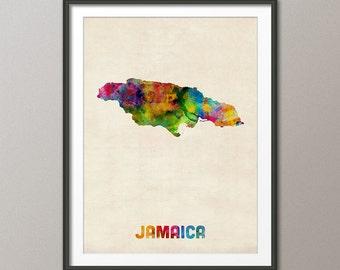 Jamaica Watercolor Map, Art Print (1337)