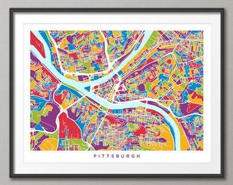 Pittsburgh Map, Pittsburgh Pennsylvania City Street Map, Art Print (1343)