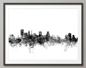 Baltimore Skyline, Baltimore Maryland Cityscape Art Print (1465)