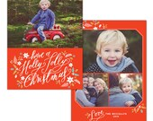 Holly Jolly -  Christmas Card Photoshop template - INSTANT DOWNLOAD - e1128