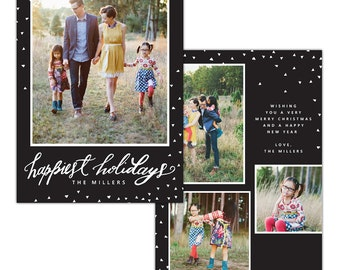 Happy Holidays - Christmas Card Photoshop template - INSTANT DOWNLOAD - e1140