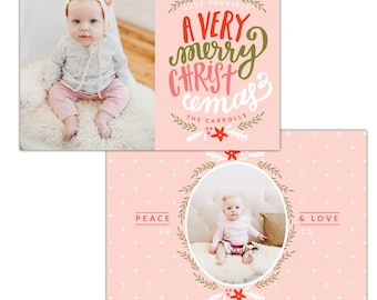 Merry Christmas Card Photoshop template - INSTANT DOWNLOAD - e1143