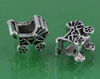 1 Baby Carriage Charm Bead Fits European Style Jewelry - ec053