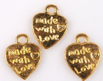 1 Tiny Heart Made With Love Tag Charms Gold Plated 12 x 9 mm  Ships From The United States - sc514