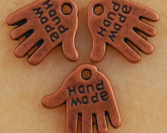 12 Handmade Charms, Hand Charms, Chain Tags, Antique Copper Tone 13 x 12 mm Ships From The United States -  cg085