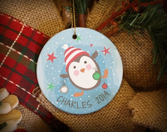 Cute Whimsical Panguin in Purple or Blue Personalized Christmas Ornament!