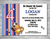 Sports All Star Birthday Party Invitation. Perfect for Birthdays of Any Age. Matching Thank You Cards Available.