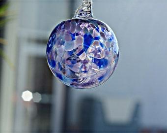 Purple and blue ornament, blown glass ornament, glass ball, glass art