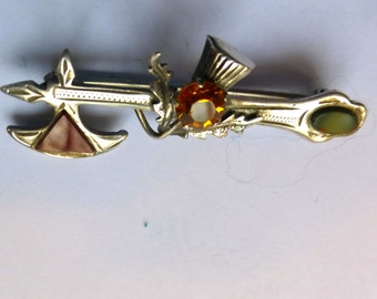 Solid Sterling Silver Agate Scottish Axe Brooch