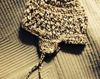 Crocheted Adult Ear Flap Beanie
