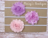 Set of 3- Love Purple and Pink Hearts Flower Headband Set/ Headband/ Newborn Headband/ Baby Headband/ Wedding/ Photo Prop