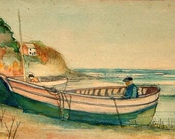 Raphael J Pippet Painting Vintage Art OOAK Painting Vintage Seascape Painting Vintage Beach Painting Vintage Watercolor Painting