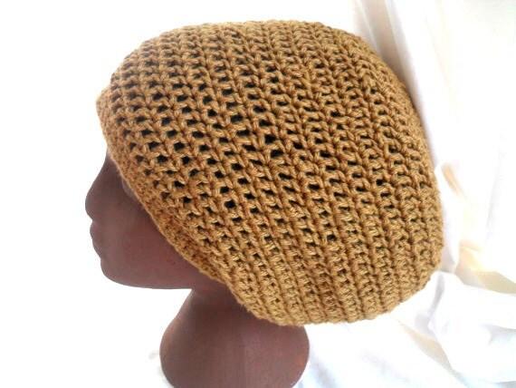 Tam Hat - Organic Cotton Dread Hat - Stretchy Stitch Brass Color Hat - Custom Order Medium Hat - Loose Stitch Tam - Summer Dreadlock Tam