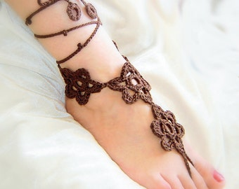 Chocolate  flowers crochet  barefoot sandals.
