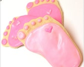 Baby Sugar Cookies Pink Baby Feet Iced Cookies Pitter Patter Theme Baby Foot Decorated Sugar Cookie Girl Baby Shower