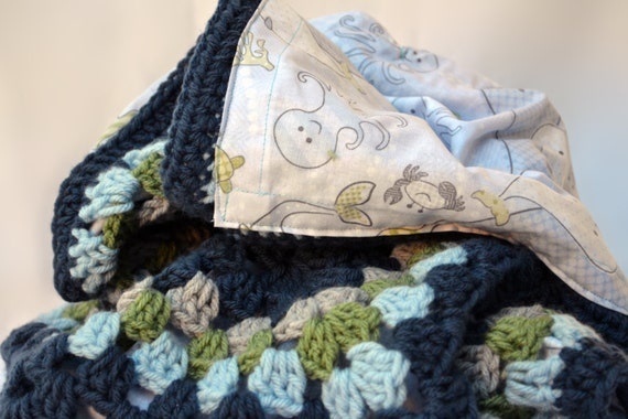 Mama And Baby Whale Reversible Blanket Crochet Baby Blanket