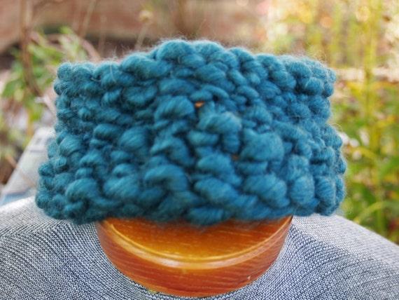 Chunky Headband, Hand Knit Headband, Headband, Wool Headband, Blue Headband, Blue Wool Headband, Blue Knit Headband, Hand Spun Headband