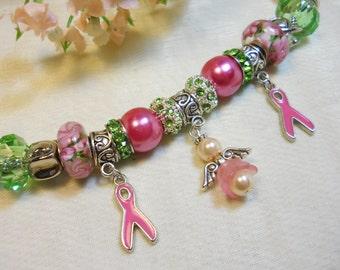 Breast Cancer Awareness Bracelet, Pink Angel European Style Bracelet, Pink Ribbon, Pink and Green Bracelet