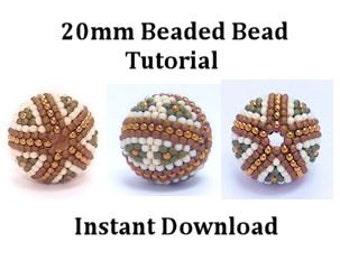 20mm Beaded Bead tutorial - Instant Download