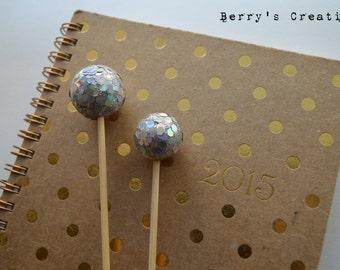 Silver Glitter Disco Ball Swizzle Stir Stick. Party Decor. Drink Decor. Cake Topper.