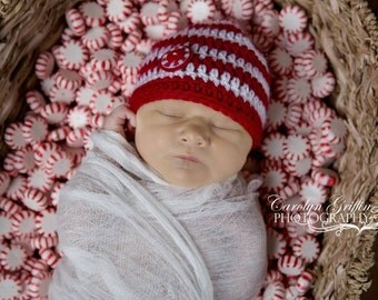 Baby Candy Cane Hat - Peppermint Twist - Christmas Hat