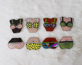 SALE Bra and Panties Pin Set / Choose Your Own / Bikini Brooches / Naughty Bits Collection