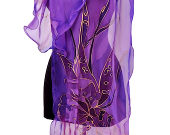 Hand painted silk scarf/Painting by hand violet flower/Floral silk chiffon scarf/Painting by hand flowers/Paintingscarf/Painting Shawl/S0044