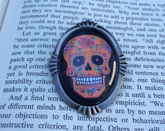 Orange On Black Sugar Skull Brooch