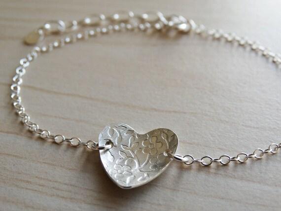 Silver Heart Bracelet With Flower Pattern, Sterling Silver