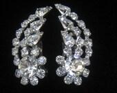 "CLEARANCE  Rhinestone Vintage Earrings in Bloom & Leaf Shape, Clip Backs.  Unsigned.  1-1/2"" H x 5/8"" W."