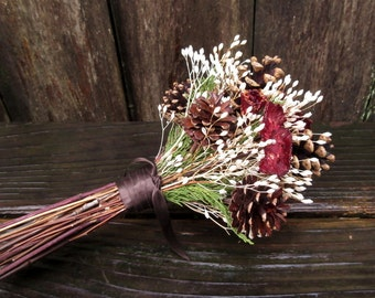 Red & White Winter Wedding Bouquet - Cranberry Forest Glade - Pine, Juniper, Osage and Lapsana